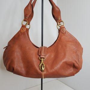 Sigrid Olsen Brown Leather Crescent Hobo Purse